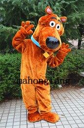 Wholesale Scooby Costumes - High quality brown scooby-doo dog adult mascot costumes fancy dress carnival costume Halloween Christmas free shipping