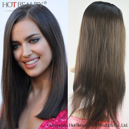 Wholesale Machine For Hairstyle - Free Shipping Straight Brazilian Virgin Hair Glueless Full Lace Wig Human Hair For Black Women,With Baby Hair Natural Hair Line