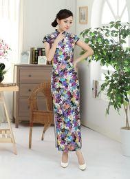 Wholesale Ready Wear Cheongsam - Free Shipping Chinese traditional dress Vintage qipao Velvet Chinese Dress Floral Painted Blend Silk Cheong-sam Long Cheongsam Dress T0004B