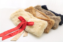 Wholesale Lace Bow Girls Coats - Girl children faux rabbit fur shawl bow lacing fashion scarves winter thicken soft princeses shawl coat LD401 BY0000