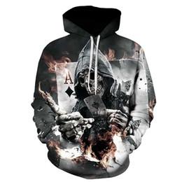 Wholesale Poker Sleeve - Fashion Mens Womens Sweatshirt Skull Poker 3D Print Hoodies Hip Hop Graphic Hooded Unisex Pullover Coat Tracksuit
