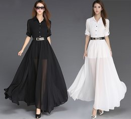 Wholesale Turndown Collar Dress - Spring Summer 2016 Plus Size Women Turndown Collar Chiffon Long Dress Black Maxi Dresses Sexy Split Beach Party Evening Dress With Belt