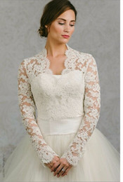Wholesale Long Bridal Winter Jackets - Long Sleeve Wedding Wrap Jacket White& Ivory Lace Bridal Wrap Custom Made Wedding Bolero Wedding Accessories Bridal Jackets
