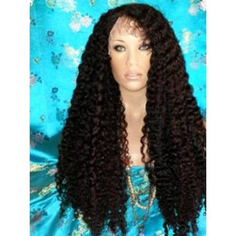 Wholesale Cheap Ties For Women - Top Grade Indian Virgin Kinky Curly Human Hair Glueless Full Lace Wig For Black Women in Natural Color Cheap Lace Wigs