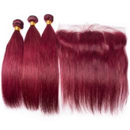 Cheveux vierges de vin rouge en Ligne-Pérou Vin rouge Silky droite cheveux humains 3Bundles Avec Frontal 13x4 Bourgogne 99J Virgin Hair Extensions Avec Top Frontal fermeture
