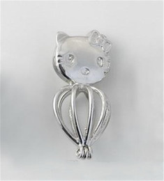 Wholesale Cat Charm Beads - Kitty Cat Cage Pendant Fittings, Can Open and Hold Pearl Gem Bead Locket Cage, DIY Fashion Jewelry Accessory Charms P19