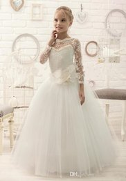 Wholesale Dresess Girls - 2016 birthday dresses Ivory Lace Beaded Long Sleeves Ball Gown Tulle Baby Girl Dresses Kids Dresses For Wedding Kids Wedding Dresess
