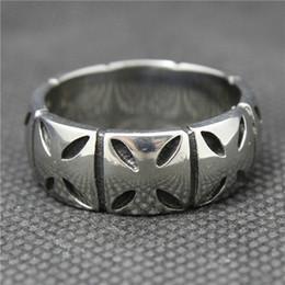 Wholesale Simple Cross Rings - Mens Boys 316L Stainless Steel Jesus Silver Cross Ring Simple Biker Ring