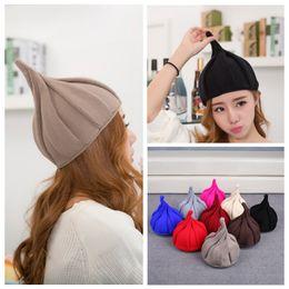 Wholesale Korean Womens Winter Hat - Wholesale-Korean Womens Mens Crochet Knit Ski Cap Beanie Winter Warm Flower Wool Twist Hats yHOE