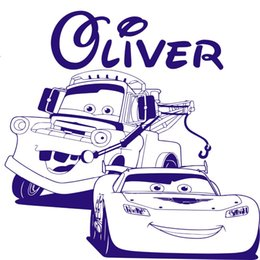Wholesale Pixar Cars Decals - PIXAR CARS Lightning McQueen Mater width 60cm60cm height Personalised name style wall decal, transfer, vinyl