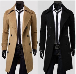 Wholesale Men Outdoor Trench Coat - Men Trench Coat British Style Double Breasted Long Coat Men Brand Clothes Outdoors Overcoat Plus Size XXXL