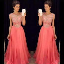 Wholesale Long Line Dress Watermelon - Hot Sale Watermelon Prom Dresses A Line Scoop with Beading and Rhinestones Zipper Back Long Party Dresses Evening Wear
