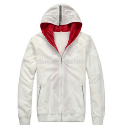 Wholesale Desmond Miles Costume - 2 Colors Assassin's Creed 2 Desmond Miles Cosplay Costume White Black Hoodie Coat Sewing Eagle Logo Unisex Warm Hooded Jacket