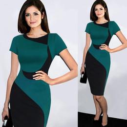 Wholesale Drop Waist Dress L - Fashion Women Casual Dresses Patch Work High Waist Pencil Dresses for OL Work Suits Slim Elegant