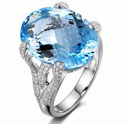 Wholesale Swiss Blue Topaz - Free Shipping 14K White Natural Blue Swiss Topaz Diamond Engagement Wedding Ring(R0090)