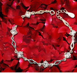 Wholesale Heart Gemstones - 2017 best gift for the sale of 925 silver bracelets, the love of the new fashion 925 standard pure silver chain Gemstone Bracelet