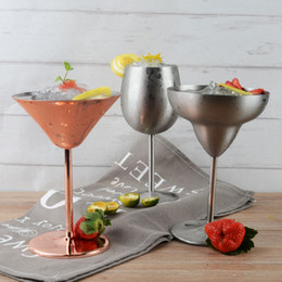 Wholesale Round Martini Glasses - 200ml Cocktail Cups Martini Glass Stainless Steel Red Wine Cup Champagne Glass Goblet Bar Tool Wedding Party Drinking Ware