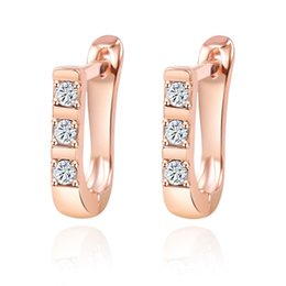 Wholesale Wholesale Fasion - Hoop Earrings 925 Sterling Silver 18K Rose Gold Plated Swiss CZ Diamond Engagement Fasion Jewelry Small Earrings Hoop for Women