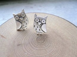 Wholesale Owl Back - 10pcs lot Fashion Jewelry New Owl Stud Earrings Silver Bird Jewelry Birthday Gift For Women ED068
