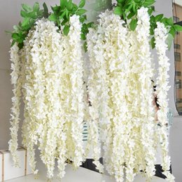 2019 seda blanca planta de glicina boda Blanco color púrpura verde 1.6 metros de largo Artificial Silk Flower Vine Wisteria Garland Fake Plants para decoraciones del banquete de boda del jardín seda blanca planta de glicina boda baratos