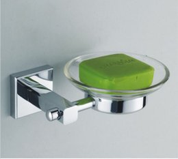 Wholesale Round Soap - Chrome Finish Glass Round Bathroom Soap Dish Holder Wall Mounted Freeshipping