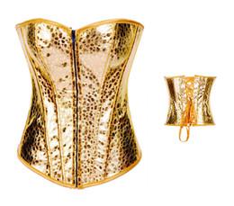 Wholesale Xxl Sexy Corsets - Sexy Fashion women Gold corselet Halterneck Rivet Shaper Corset Faux Leather PVC Bustier Top Waist Trainer xxl Plus Size free shipping