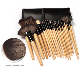 Wholesale Soft Cosmetic Cases - high quality 24Pcs Professional Makeup Brushes Cosmetic Brush Set Kit Tool with retail soft case 10pcs lot DHL free shipping
