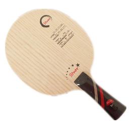 Raquetes de madeira on-line-Atacado-raquete de tênis de mesa de madeira de Ash inferior cinco raquete de tênis de mesa de madeira pura