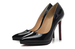 Wholesale Fall Tips - Black Patent Leather Tip Cover Red Bottom High Heels Women Shoes 12cm High Heel Ladies Female Shoes Low Footwear Pumps Wedding Shoes