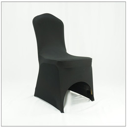 Wholesale Cheap Spandex Chair Covers Wholesale - 2016 cheap black wedding banquet lycra spandex chair cover free shipping