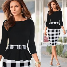 Wholesale Dresses Belted Tunics - 2017 New Women Elegant Cotton Tunic Peplum Belted Patchwork Check Tartan Office Work Sheath Pencil Bodycon Plus Size Midi Dress