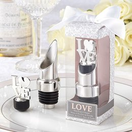 "Wholesale Chrome Pourer Bottle Stopper - 16PCS LOT ""LOVE"" Chrome Wine Pourer Bottle Stopper Romantic Wedding Favors and Gift FREE SHIPPING"
