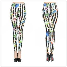Wholesale Leggings Korean Flower - New Korean Fashion Slim Elegant Stripe Women Leggings Colorful Flowers Birds Milk Silk Leggins Hot Plus Size Wholesale