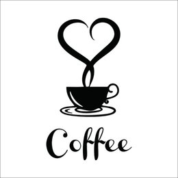 Wholesale Decorations For Shops - Coffee Cup Vinyl Wall Sticker Coffee shop Restaurant wall decor decals Kitchen Decoration