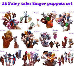 Wholesale Animals Hand Puppets - 12 Fairy tales finger pupets set Animal Finger Puppet Baby Educational Toys dolls Pigs Tortoise Lions