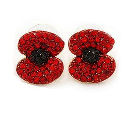 Wholesale Diamante Flower Earrings - 2015 Newest Wholesale Gold Tone Red Emerald Rhinestone Crystal Diamante Red Poppy Stud Earrings Fashion Jewelry Accessories
