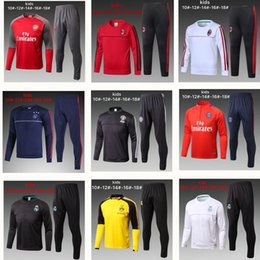 Wholesale New Kids Sportswear - kids TOP THAI QUALITY new 17-18 Real Madrid kids soccer chandal white football tracksuit 2017-2018 training suit pants Sportswear