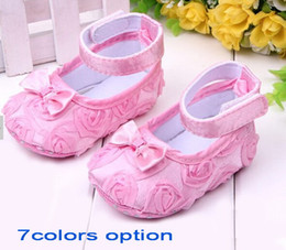 Wholesale White Flower Girl Shoes Sale - SALE ! OUTLETS! Baby Girls Shoes Infant Rose Flower Cotton First Walkers Shoes Toddler Shoes Sz 3 4 5,DROP SHIPPING.12PAIRS 24PIECES HOT .ZB