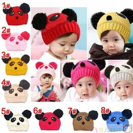 Wholesale Korea Gloves Style - Wholesale-Children's Winter hat 0-1-2-3 year-old Boys and Girls Baby Plush Hat Bonnet Panda Small Watermelon Hats Korea Style Keep