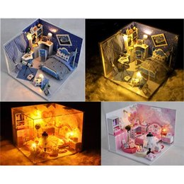 Wholesale Diy House Model - DIY Kids Miniature Music and LED Doll House Toy Wooden House With Furnitures Model Kit 2 Style Option