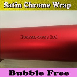 Wholesale Vinyl Wrap Matte Red - Premium Red Satin Chrome Matte Vinyl wrap Car Wrap with Air Bubble Free Chrome red Matt Film Vehicle Wrapping Sticker foil size1.52x20m Roll