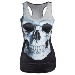 Wholesale Tank Tops Women Colors - Wholesale-Fashion 21 Colors Women Girl Vest Tank Tops Print Blouses Gothic Punk Rock Party Clubwear T Shirts 2015 New