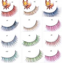 Faux faux cils naturels en Ligne-1 paire Pure Handmade Natural Fox Cheveux Long Faux Cils Colorés Faux Eye Lash 11 Styles pour les Choix