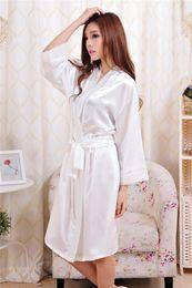 c1ddfbafb1 Chinese 2017 Ladies womens Solid plain Satin rayon Robe Pajama Lingerie  Sleepwear Kimono Gown pjs
