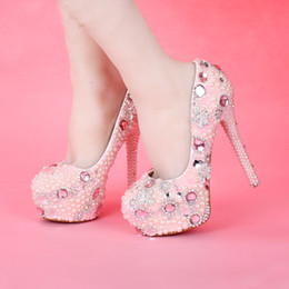 Wholesale Girls Dress Shoes Rhinestones - Newest Design Sweetness Pink Color Bridal Wedding Princess Girl Birthday Party High Heels Graduation Prom Dress Shoes