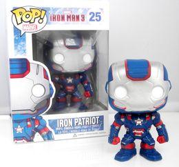 Wholesale Iron Man Funko - Free shipping Marvel Hot Toys 10CM Funko PoP The Avengers Figure Iron man 3 IRON PATRIOT Big Head Toys Christmas Gift