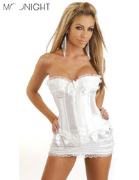 Wholesale Sexy Plastic Lingerie - MOONIGHT New Hot Sales Sexy Plastic Boned Lace up Lingerie Gothic Corset Bustier&Mini Skirt plus size SML XL2XL3XL4XL5XL6XL