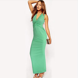 plunge maxi dress sexy Coupons - Lcw New fashion Women Sexy Plunge Deep V Neck Knotted Twist Front Ruched Sleeveless Beach Party Club Slinky Maxi Long Dress