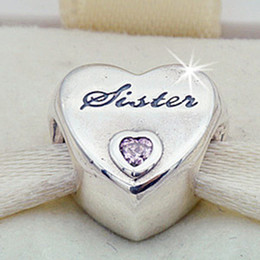 Pandora amor rosa cz online-2016 Otoño 925 Sterling Silver Sisters Love Charm Bead con forma de corazón Pink CZ Se adapta a European Pandora Style Jewelry Pulseras Collar