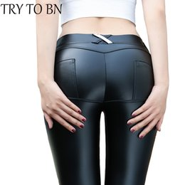 Wholesale Leggins Colors Pants - Wholesale-TRY TO BN 4 Colors PU Leather Low Waist Leggings Women Sexy Hip Push Up Pants Legging Jegging Gothic Leggins Jeggings Legins